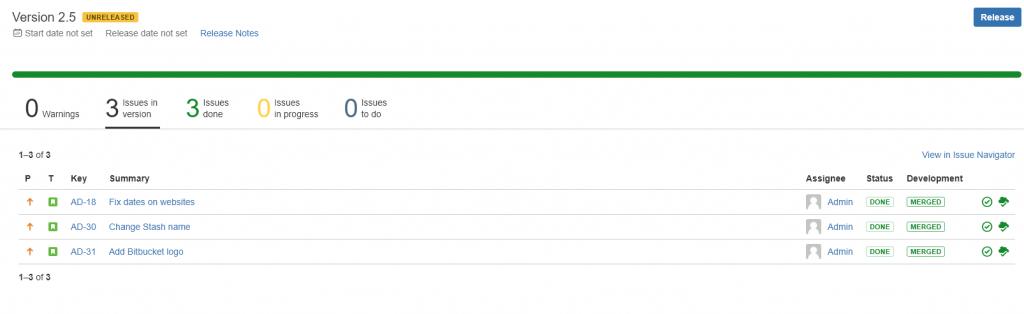 DevOps - numéro de release avec toutes les informations des stories du sprint